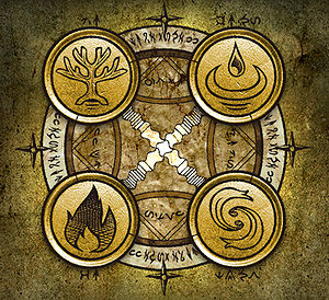 picture of the four elements as seen in Dark DawnAlchemy Elemental Symbols